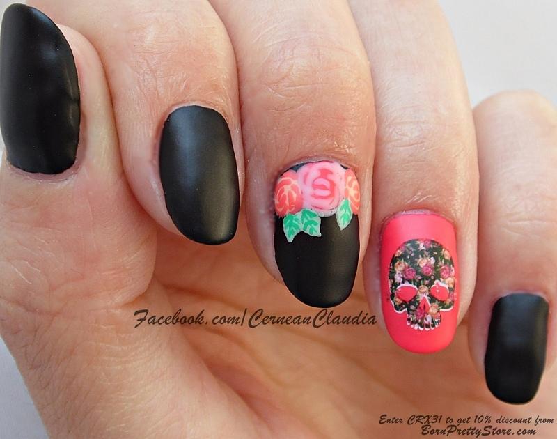 Skull Nails nail art by Claudia