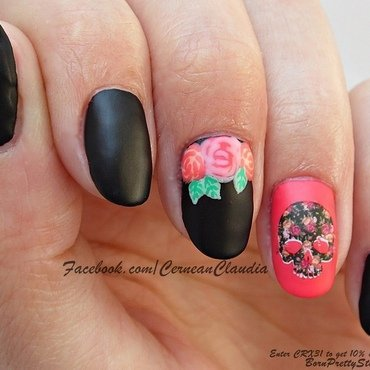Skull Nails nail art by Claudia