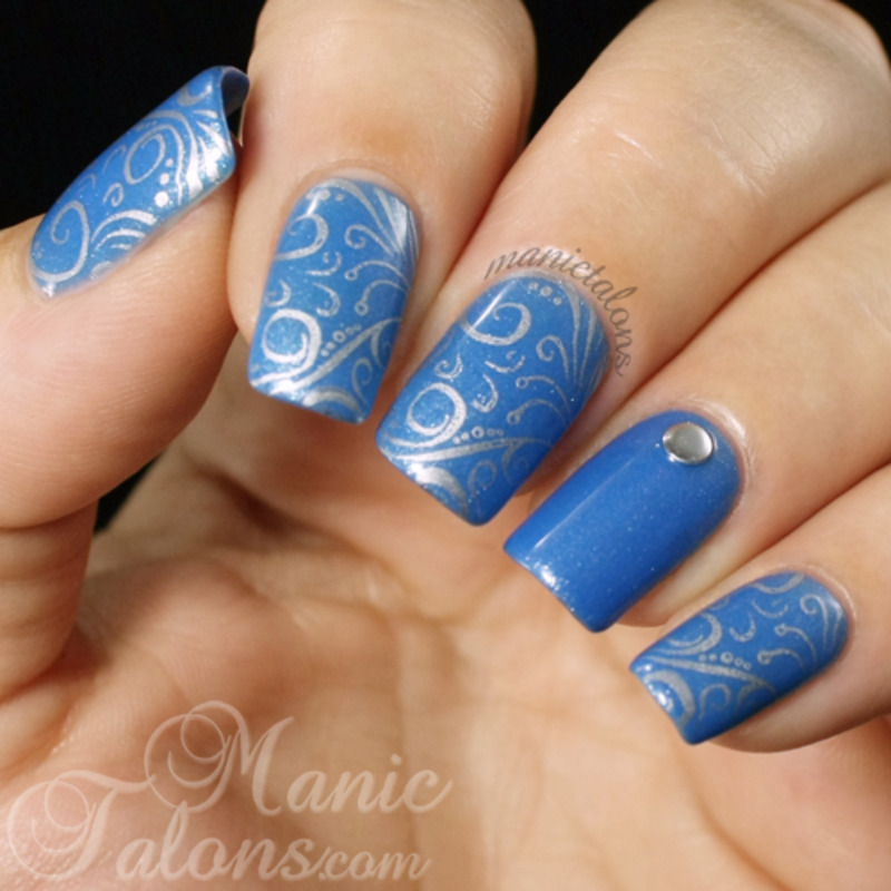 Simple Stamping over Gel Polish nail art by ManicTalons