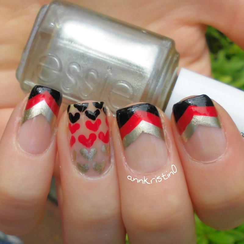 Love for Germany nail art by Ann-Kristin