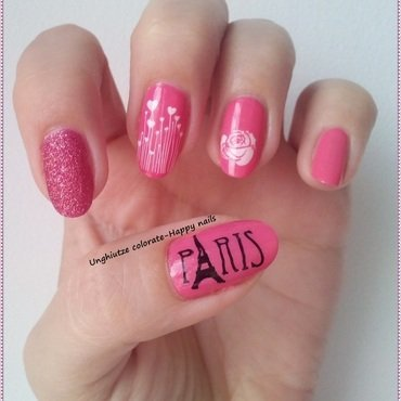 Paris, je t'aime nail art by Oana  Alexandru