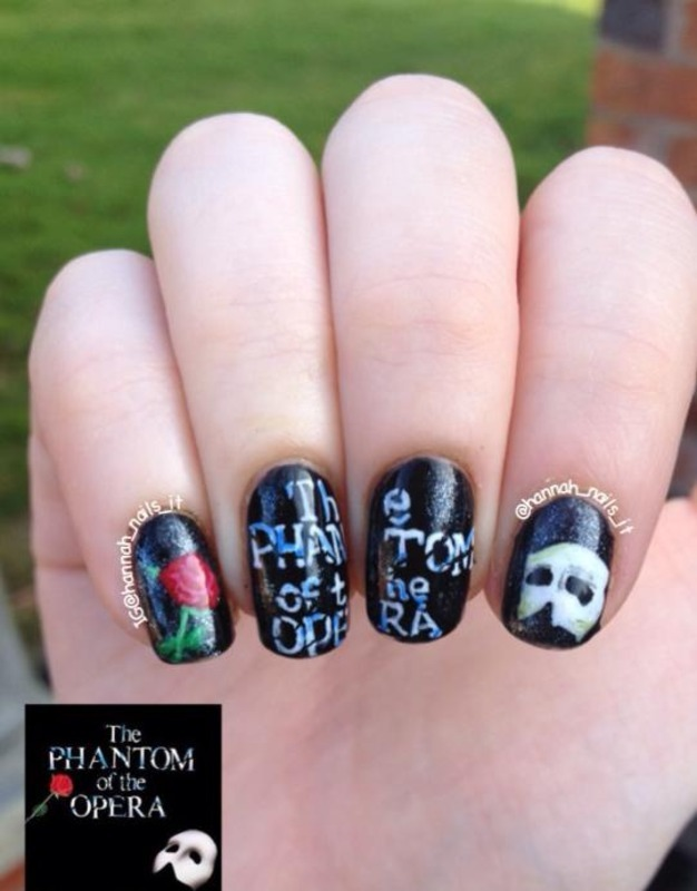 The Phantom of the Opera nail art by Hannah
