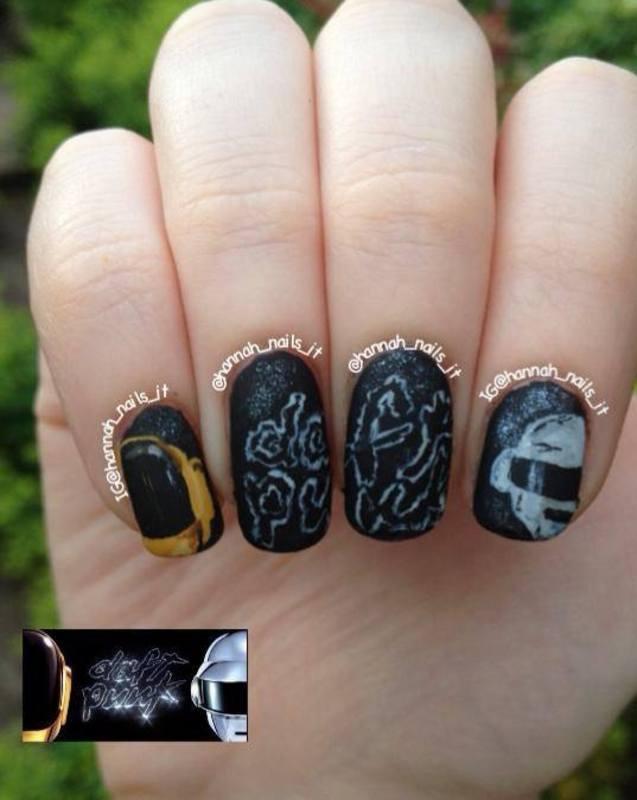 Daft Punk Digits nail art by Hannah