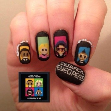 The Black Eyed Peas nail art by Hannah
