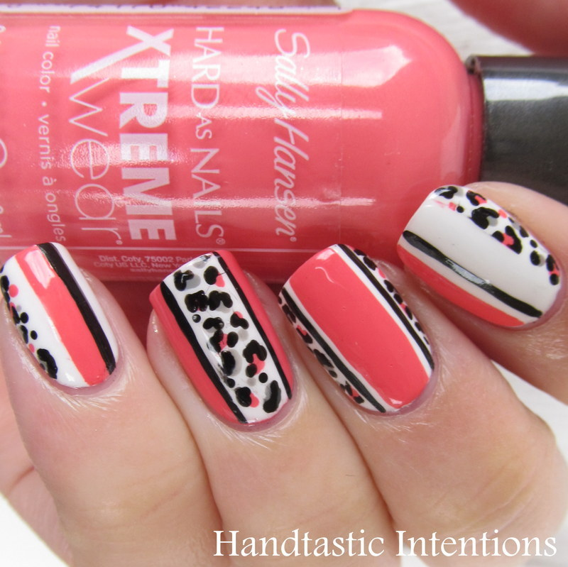 Leopard and Stripes nail art by Andrea