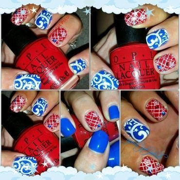 red white and blue fire works for u nail art by April Dolan