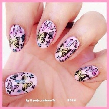 Butterfly nails nail art by Puja Malhotra