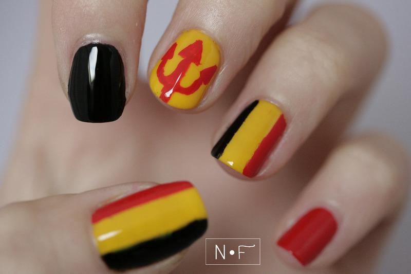 Belgian Red Devils! nail art by NerdyFleurty