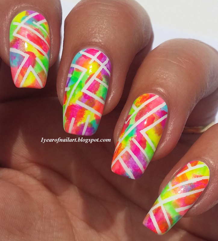 Abstract neon nails nail art by Margriet Sijperda