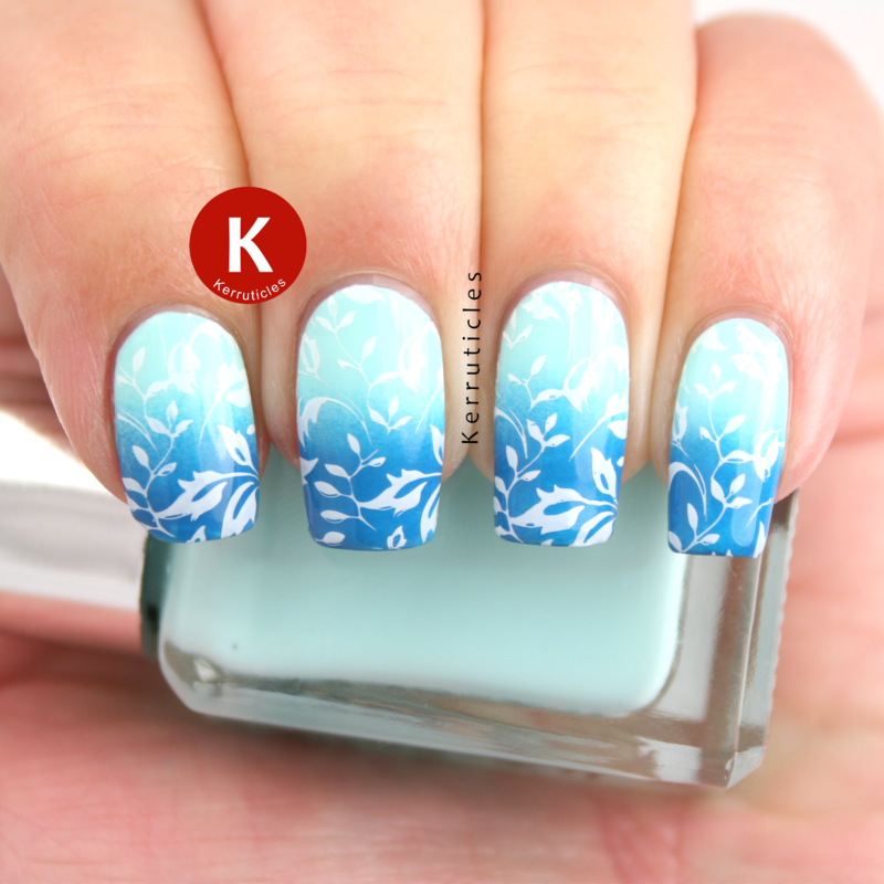 Blue gradient with stamping nail art by Claire Kerr
