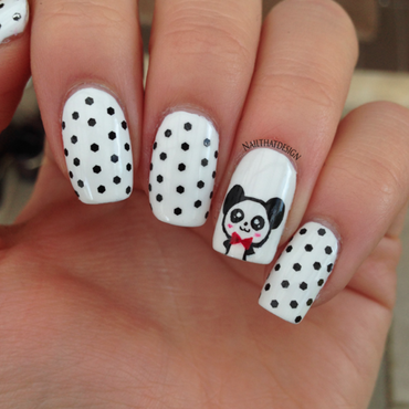 Panda Mani nail art by NailThatDesign