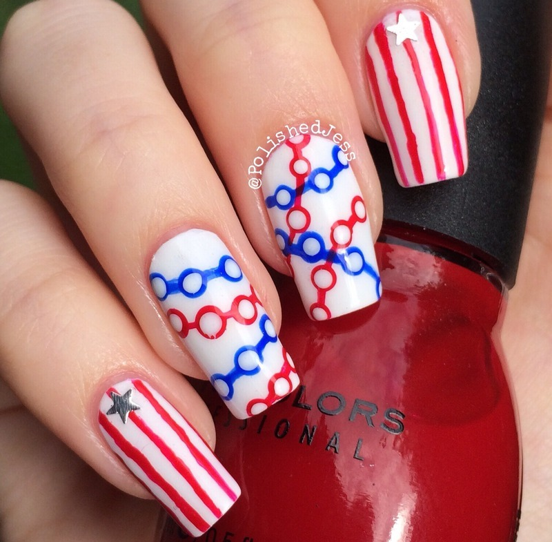 Independence Day nail art by PolishedJess