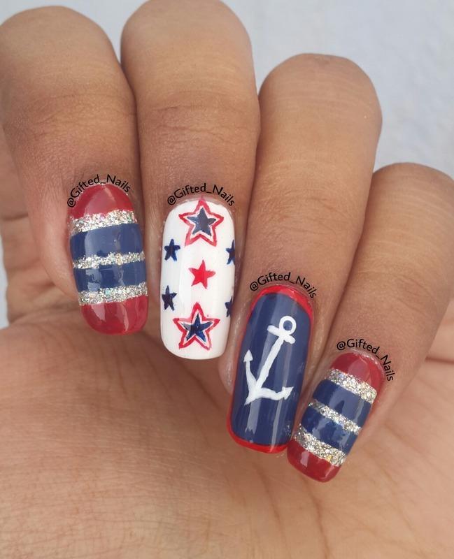 July 4th nails nail art by Gifted_nails