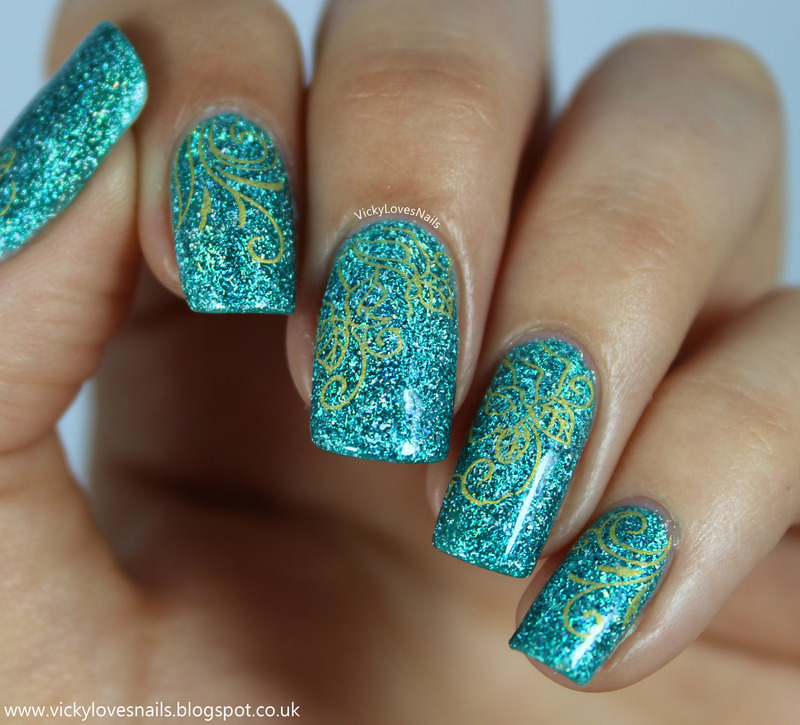 Turquoise Nails with Gold Floral Decals nail art by Vicky Standage