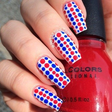 Independence Day Dots  nail art by PolishedJess