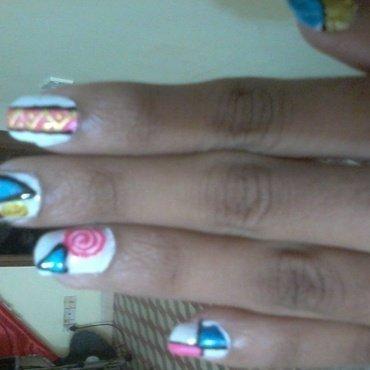 neon geometry nail art by reena  dsa
