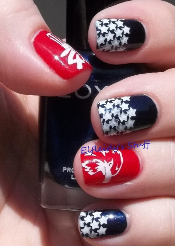 Patriotic stamping nail art by Jenette Maitland-Tomblin