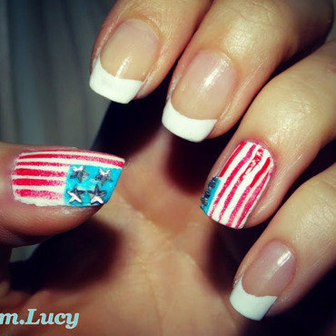 American nails nail art by Km.Lucy