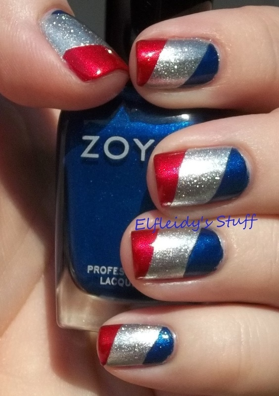 Patriotic tape mani nail art by Jenette Maitland-Tomblin