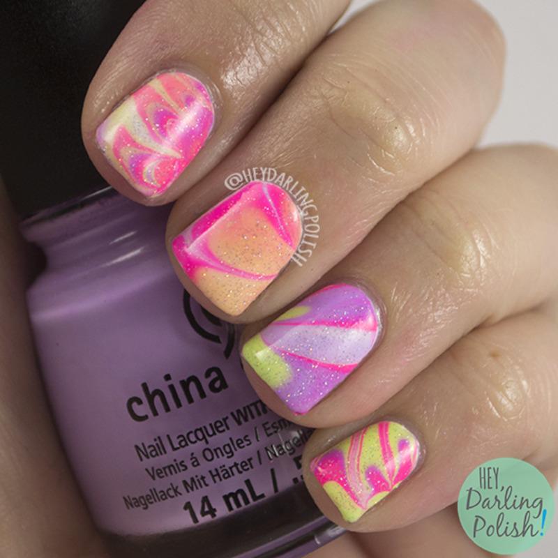 Neon Watermarble nail art by Marisa  Cavanaugh