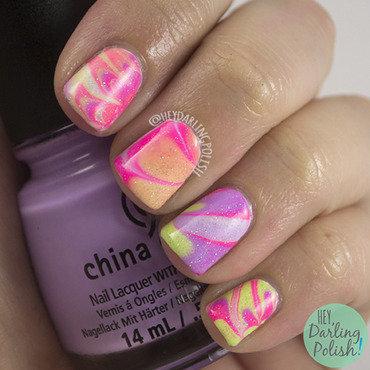Tri polish challenge watermarble neon nail art 4 thumb370f