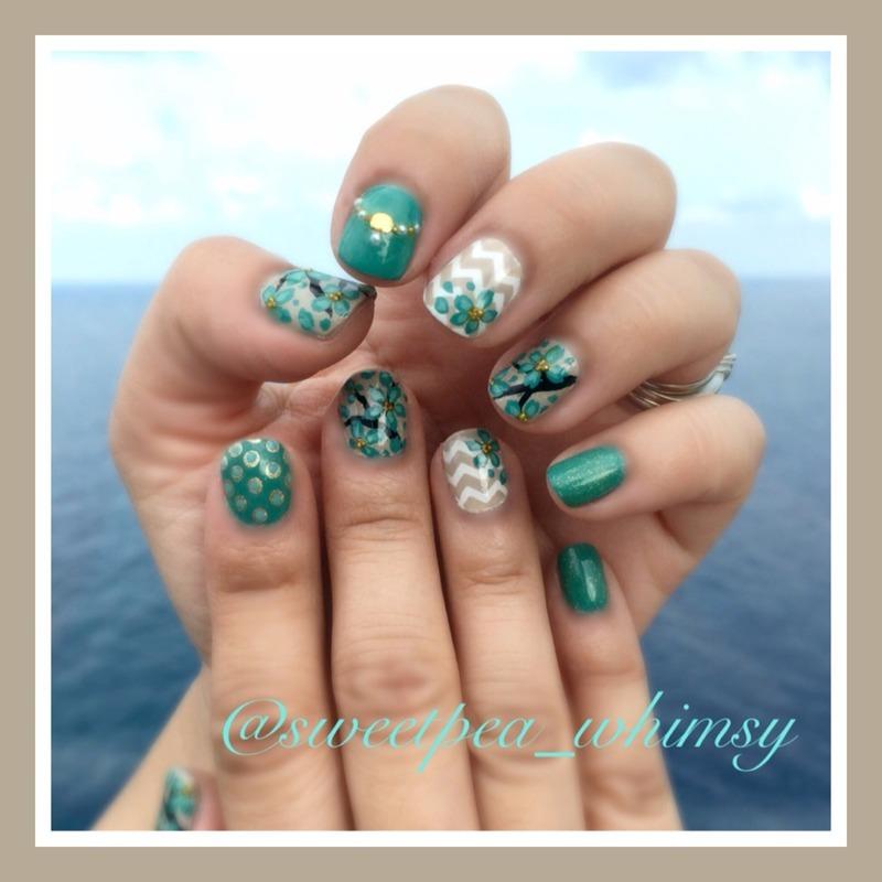 Kbshimmer Spring 2014 Chevron Dot Nail Art Easter Design: Aqua Blossoms & Beach Chevron Nail Art By SweetPea_Whimsy