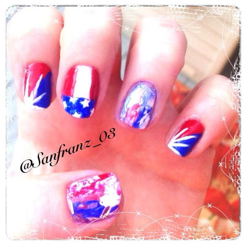 Go USA! nail art by Sandy