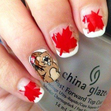Canada Day Beaver nail art by Niki My Oh My Nails