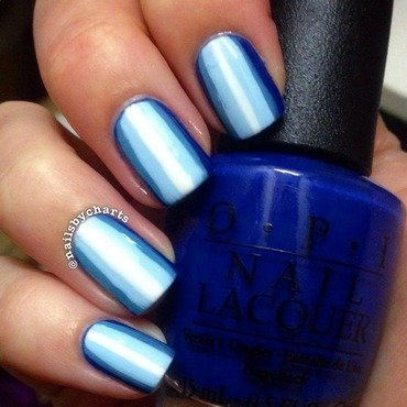 Blue striped ombre  nail art by Claudia