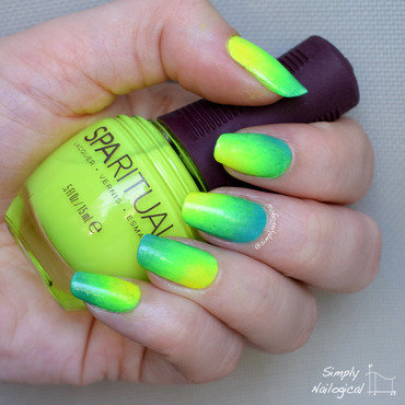 Neon green & yellow corner gradient nail art by simplynailogical
