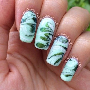 "Mint Watermarble nail art by Amanda ""Sparklicious Nails"""