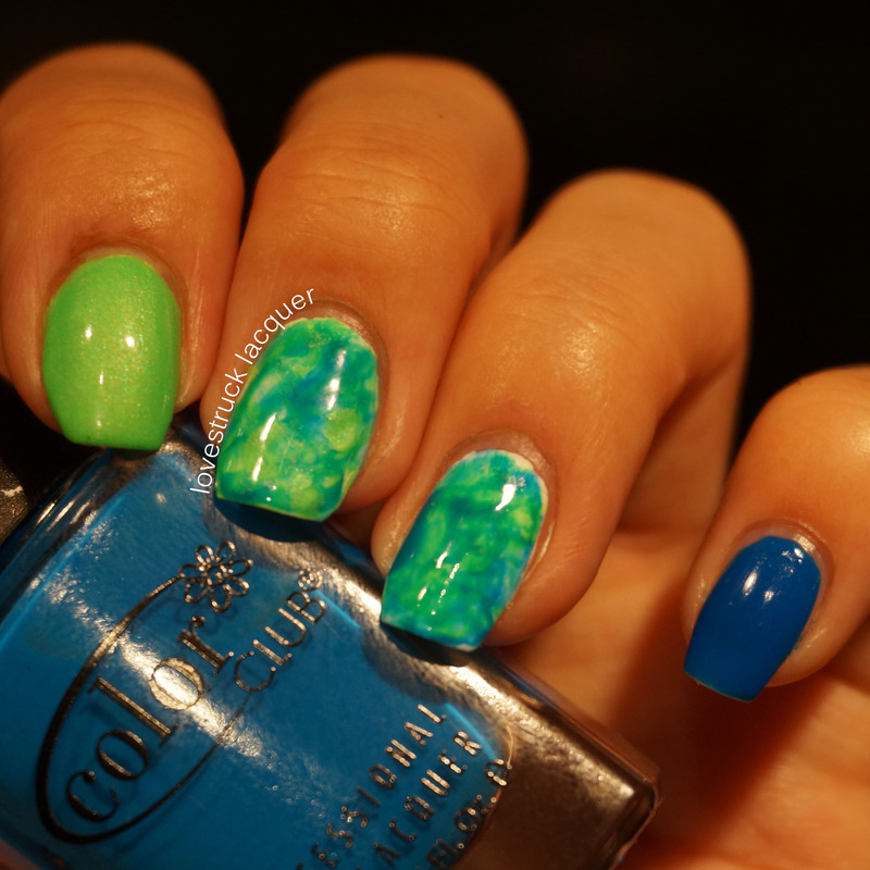 Blue And Green Watercolor Nails Nail Art By Stephanie L