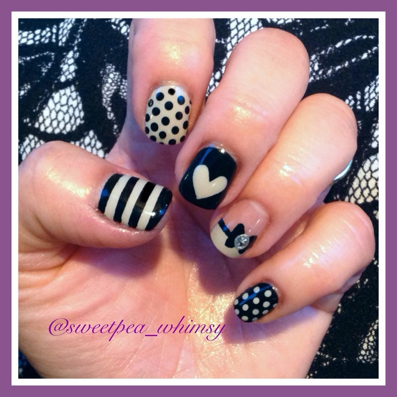 Black & Taupe Sweetness nail art by SweetPea_Whimsy