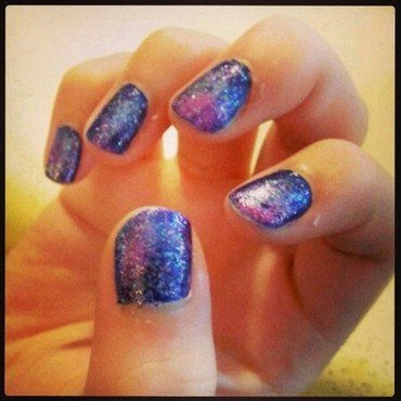 T'was my first attempt at the galaxy nail art by JingTing Jaslynn