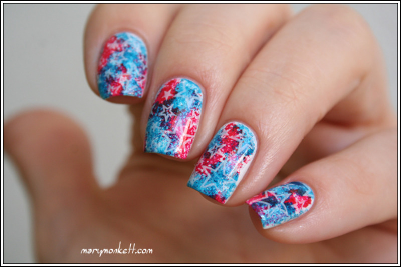 Fourth of July nail art by Mary Monkett