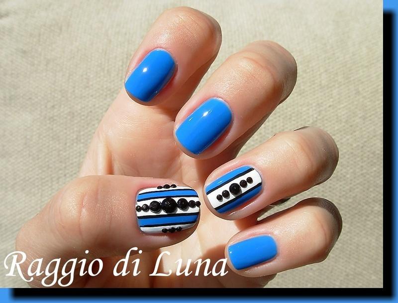 Black round rhinestones manicure nail art by Tanja