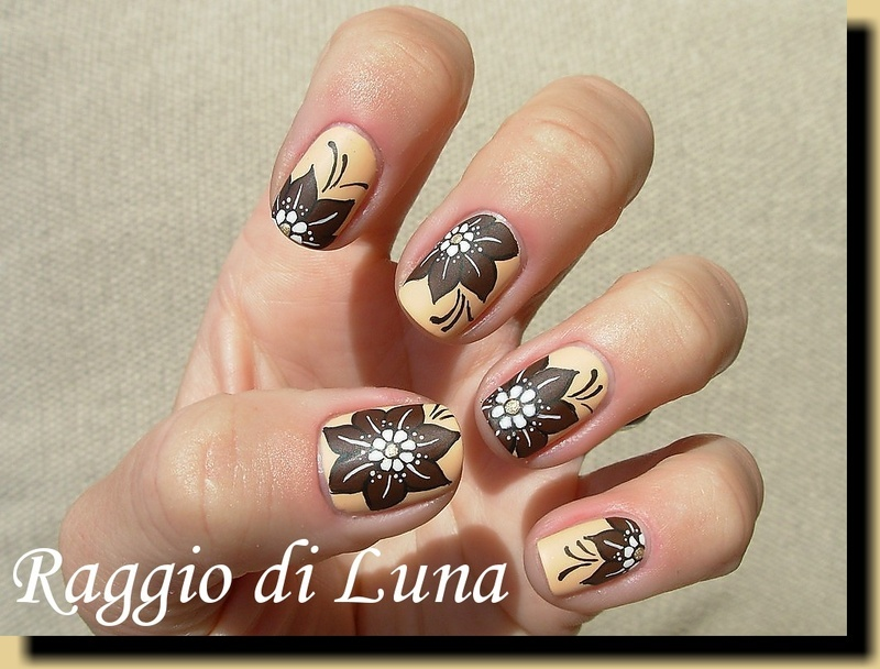 Brown flower on cream nail art by Tanja