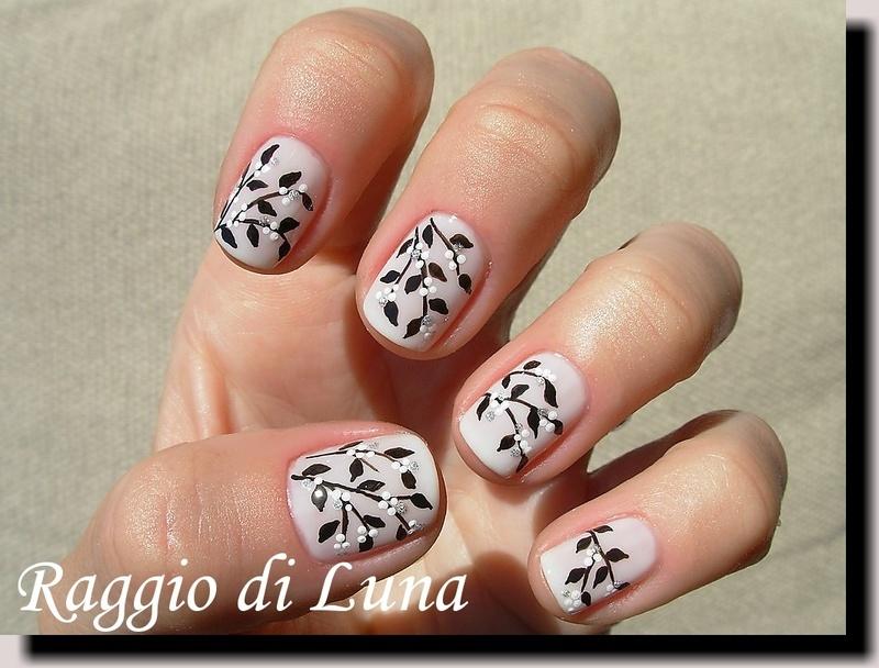White flowers branch nail art by Tanja - Nailpolis: Museum of Nail Art