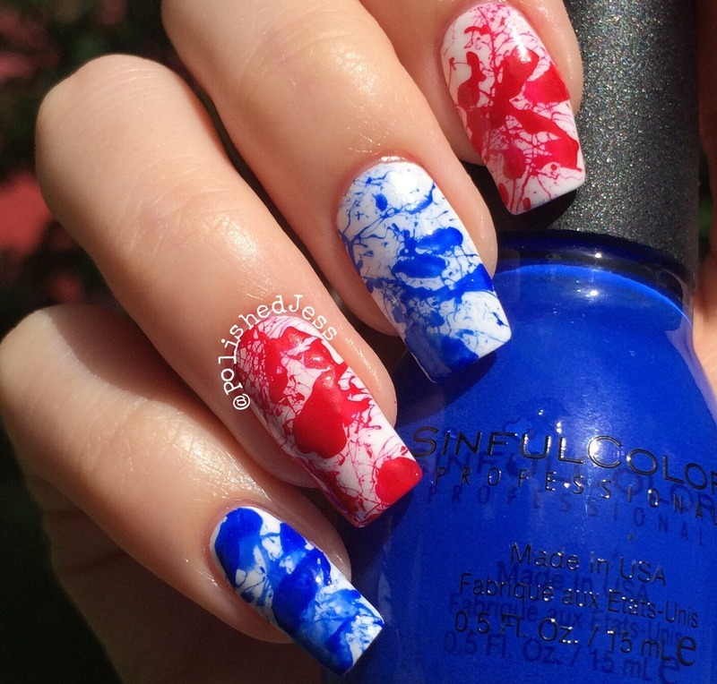 Independence Day Splatter nail art by PolishedJess