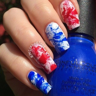 Independence Day Splatter nail art by PolishedJess