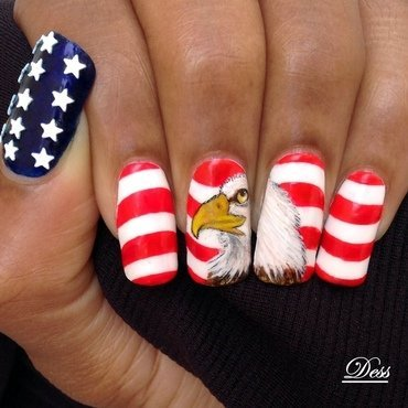 Handsome Bald Eagle nail art by Dess_sure