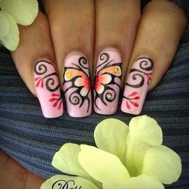 Arabesque butterfly nail art by Dess_sure