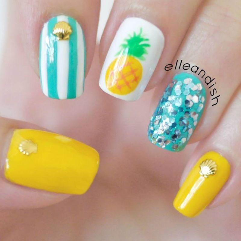 Easy Summer Pineapple Nails nail art by elleandish