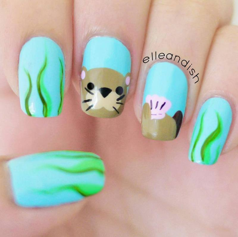 Sea Otter Nails nail art by elleandish