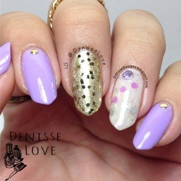 Purple + Gold nail art by Denisse Love