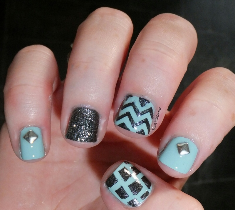 steel and blue skittlette nail art by Emma B