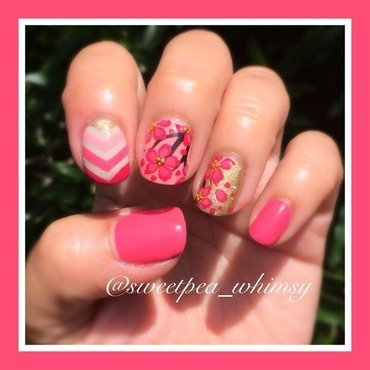 Hot Pink Blossoms & Gold nail art by SweetPea_Whimsy
