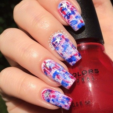 Independence Day Distressed Nails nail art by PolishedJess