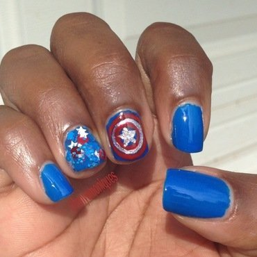 Captain America nail art by Tonya Simmons