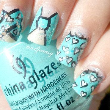 Japanese Turquoise Kimono Inspired Nail Art  nail art by madjennsy Nail Art